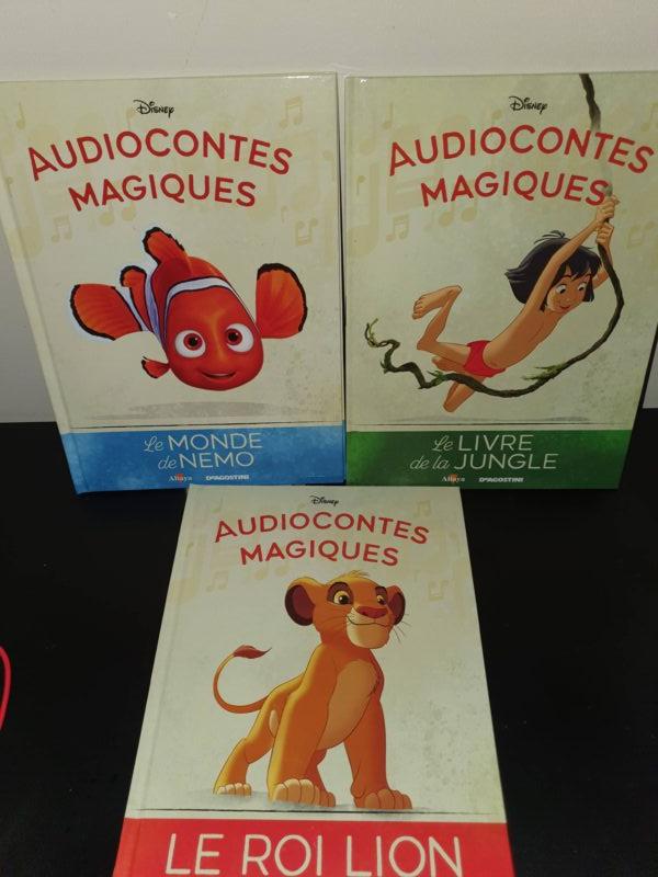 Les trois couvertures des audiocontes: Le monde de Némo, le Roi Lion et le livre de la jungle