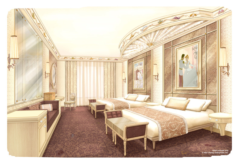 Concept art of a room in the Disneyland Hotel after its rehabilitation