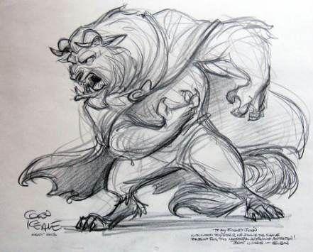 Esquisse au crayon gris du personnage de la Bête