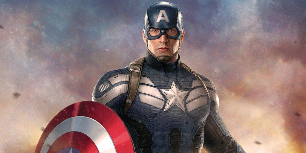L'acteur Chris Evans dans le costume de Captain America, bouclier à la main
