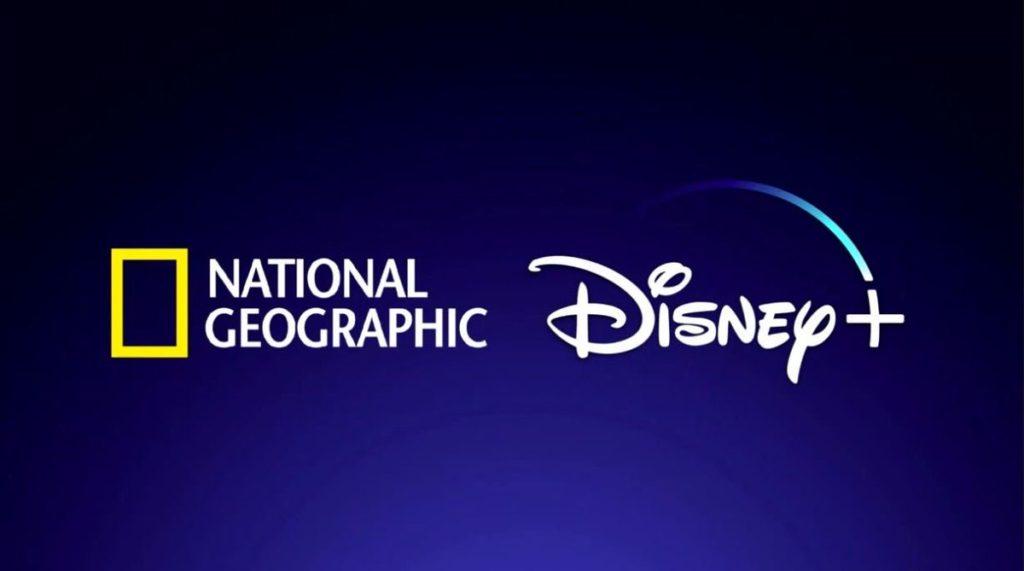 Logo national geographic un rectangle jaune et logo disney plus