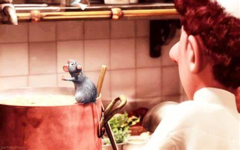 Ratatouille, Rémy finit de préparer sa soupe devant Linguini